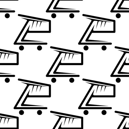Seamless black and white pattern of shopping carts or trolleys in square format for retail industry design Vector