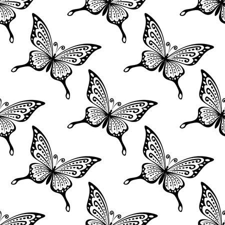 Seamless pattern de papillons en noir et blanc au format carré pour fonds d'écran ou de la conception de tissu Banque d'images - 30407242