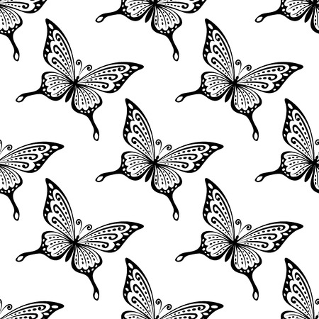 Seamless Pattern Of Black And White Butterflies In Square Format For Wallpapers Or Fabric Design Stock
