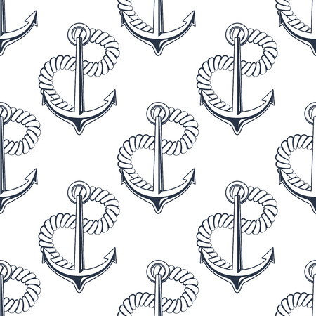 anchored: Black and white seamless background pattern with marine anchor with curling rope in a nautical theme suitable for wallpaper, textile or wrapping paper