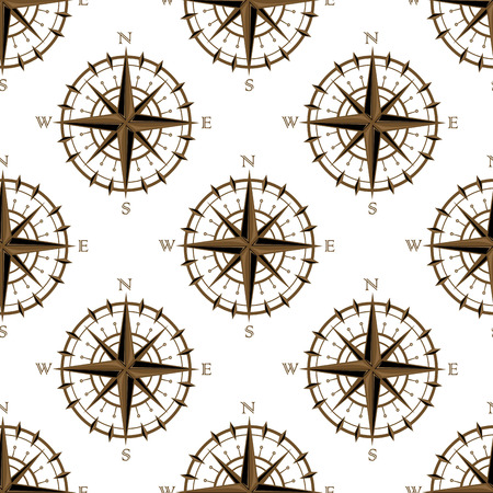 Seamless background pattern of a repeat motif of vintage navigation circular compass with star design or logo isolated on white background Vector