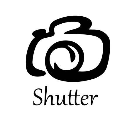 Bold black Photo camera icon with text - Shutter - at the bottom of design for any multimedia or photography design Vector