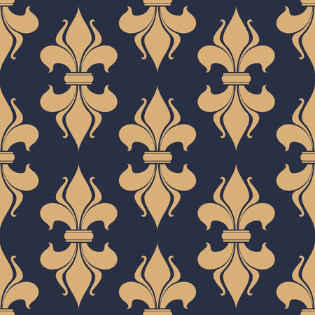 beige backgrounds: Classic French gray and beige fleur-de-lis seamless background pattern with a repeat motif in square format suitable for wallpaper, tiles and fabric design Illustration
