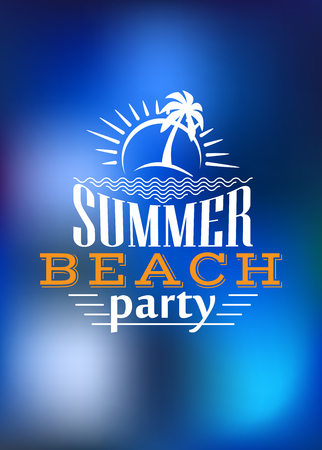 white party: Summer Beach Party poster design with a palm tree and rising sun above the text - Summer Beach Party - in white on a blended blue background representing the sea and copyspace