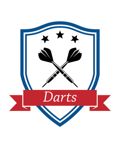 enclosing: Blue shield enclosing crossed dart with stars on the top and text Darts on red ribbon for sports or leisure design