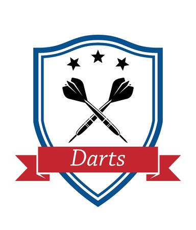 """enclosing: Blue Shield racchiude attraversato dardo con stelle sulla parte superiore e testo """"Freccette"""" sul nastro rosso per lo sport e il design per il tempo libero Vettoriali"""
