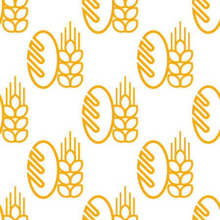 Seamless background pattern of repeat French baguette with an ear of ripe yellow wheat isolated on white background in square format. Suitable for bread and bakery industry Vector