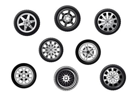Collection de roues ou de pneus avec jantes et moyeux en alliage à rayons, isolé sur blanc Vecteurs