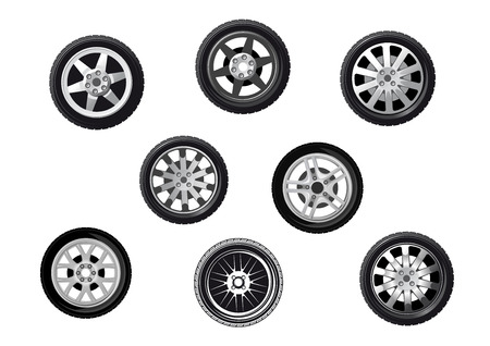Collection of wheels or tyres with spoked alloy rims and hubs, isolated on white Иллюстрация