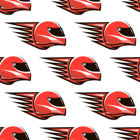 racing sign: Seamless pattern of red racing helmet with red spikes projecting from the back giving the impression of speed Illustration