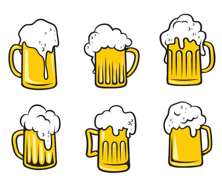 Glass pint tankards set of golden frothy beer isolated over white background. Suitable for Oktoberfest, bar and restaurant design Vector