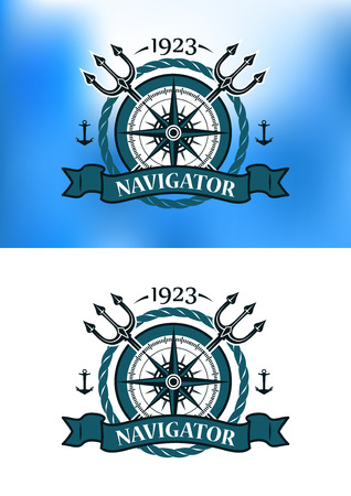 trident: Marine heraldic label with anchors, compass, trident and ropes for nautical design Illustration