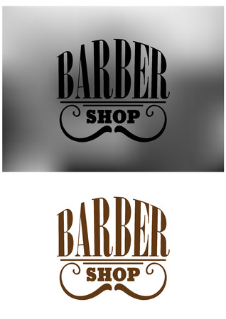 Gray and brown retro barber shop icon, emblem or insignia with an curved mustache  and the text - Barber Shop. Suitable for barber and service business design Illustration