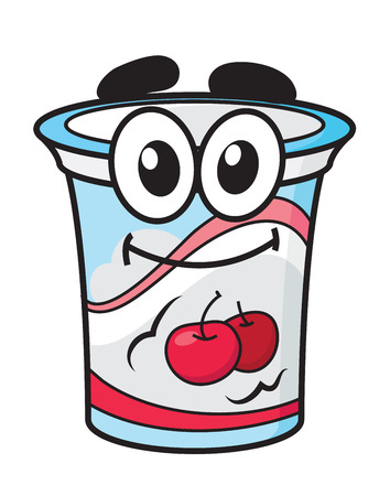 Cherry yoghurt, milk or cream happy cute cartoon style plastic package character for fresh food design Vector