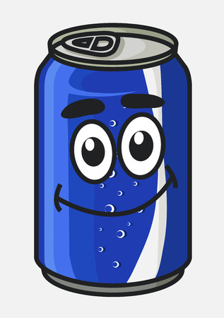 Blue cartoon soda or soft drink can cute character with bubbles isolated on white for beverage design