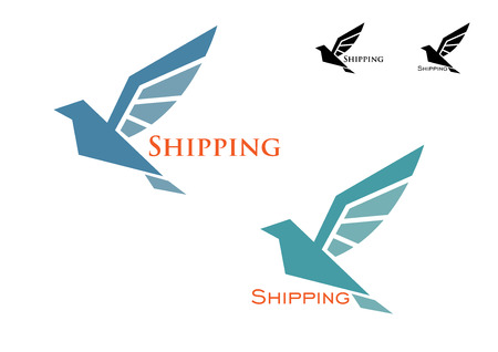 marine bird: Shipping emblem with blue colored flying bird isolated on white for delivery concept design Illustration