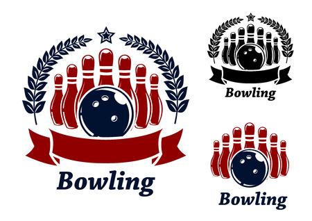 symbol sport: Bowling Embleme mit Kugel, Sterne, Kegeln und Lorbeerkranz. Schwarze und rote isoliert �ber wei�em farbigen Hintergrund. geeignet f�r Sport und Erholung Design