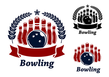 sport icon: bowling emblems with ball, stars, ninepins and laurel wreath. Black and red isolated over white colored background . suitable for sport and recreation  design  Illustration