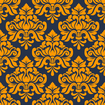 damask wallpaper: Orange colored floral arabesque seamless pattern in damask style motifs suitable for wallpaper, tiles and fabric design isolated over indigo colored background