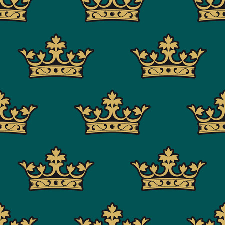Ornate heraldic seamless pattern of royal crowns isolated gold and yellow colored over green background for wallpaper, tiles and fabric design Vector