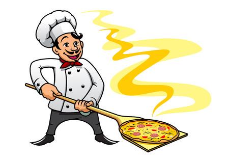 Cartoon stijl lachende vrolijke bakker chef-kok koken pizza, geschikt voor fast food en cuisine