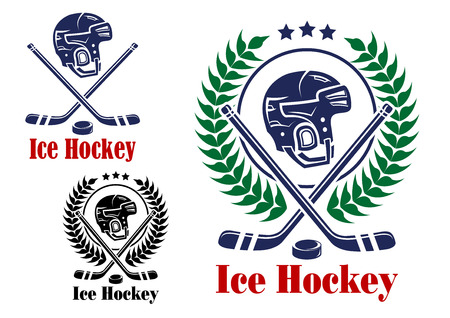 Ice hockey symbol with helmet, laurel wreath, hockey puck and stick, suitable for sporting design   Illustration