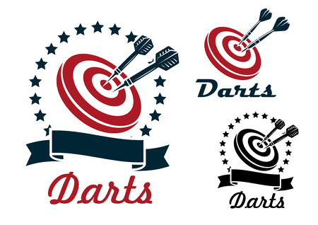 Darts sporting symbols, emblems and icons set with darts, dartboard, ribbon and laurel wreath for sport and leisure design  일러스트