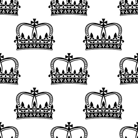 Ornate heraldic seamless pattern of royal crowns for heraldic design Vector