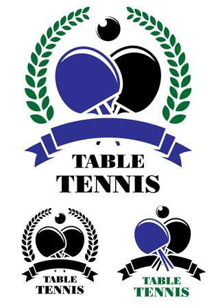 ping pong: Conjunto de emblemas de tenis de mesa con pelota de ping pong, raqueta, banderas de la cinta, rosetas y coronas de flores para el diseño de deporte
