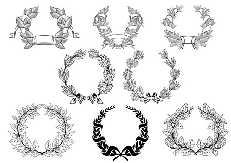 oak leaves: Retro wreath set with christmas, laurel, oak and platanoides in black color isolated on white background
