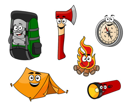 flashlight: Cartoon camping and travel objects set with backpack, tent, axe, compass, fire and flashlight for tourism design