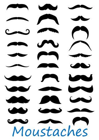 Iconos Moustache conjunto aislado sobre fondo blanco. Adecuado para barbery y diseño retro