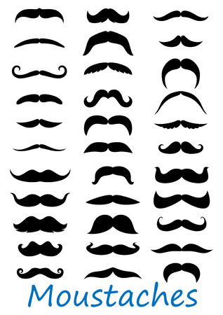 bigote: Iconos Moustache conjunto aislado sobre fondo blanco. Adecuado para barbery y diseño retro Vectores
