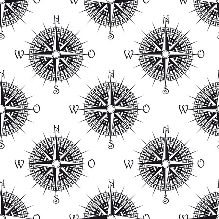 nautical pattern: Seamless nautical icon pattern with old compass, suitable for nautical, geography and travel design
