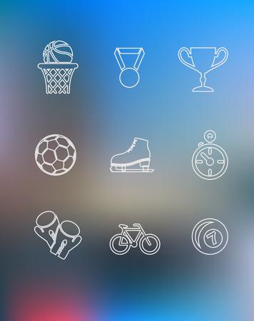 guantes boxeo: Iconos del deporte ubicado en el estilo de esquema con la pelota de baloncesto, medalla, premio taza trofeo, patines de hielo, cron�metro, guantes de boxeo, la bicicleta y la bola de billar sobre fondo multicolor para el dise�o deportivo