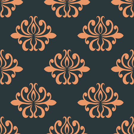 Orange colored  floral abstract seamless pattern on indigo colored background in square format, suitable for wallpaper, tiles and fabric design  Vector