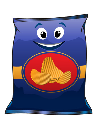 Potato chips packet cartoon character isolated on blue background for fast food design  Illustration