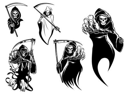 morte: Caracteres do esqueleto da morte com e sem foice, apropriados para o Dia das Bruxas e desenho de tatuagem