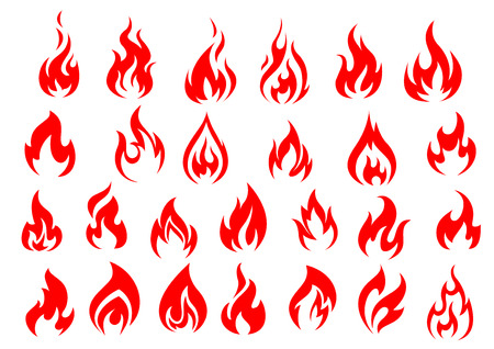Red fire icons and pictograms set isolated on white background Vectores