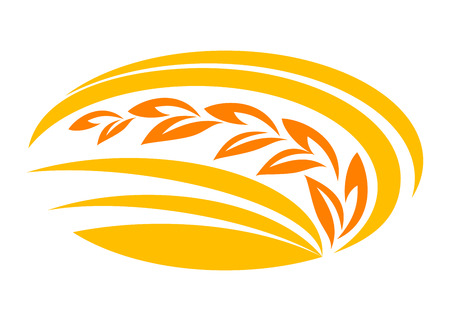 Wheat cereal symbol with yellow and orange ears,  suitable for food, agriculture and harvest design