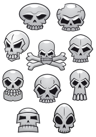 Cartoon Halloween skulls isolated on white background. Suitable for Halloween holiday or tattoo design Vector