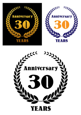 Anniversary symbol with laurel wreath and text – anniversary 30 years. Dark blue, gold, golden, orange and  colors, suitable for jubilee and holiday celebration design Vector