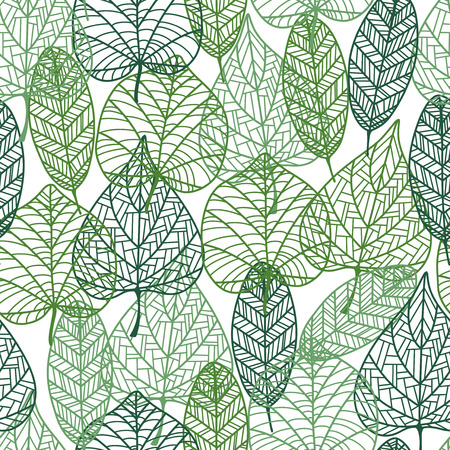 Green leaves seamless pattern with outline elements. Suitable for wallpaper, tiles and fabric design