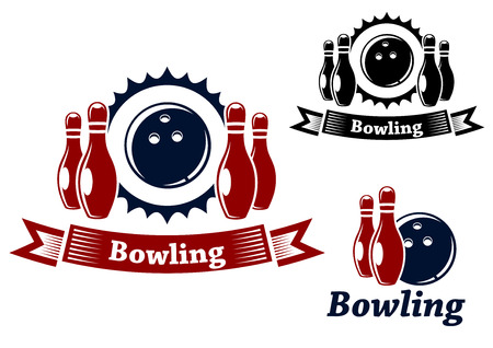 skittle: Bowling emblems and symbols set with ball and ninepins, suitable for sport and leisure design  Illustration