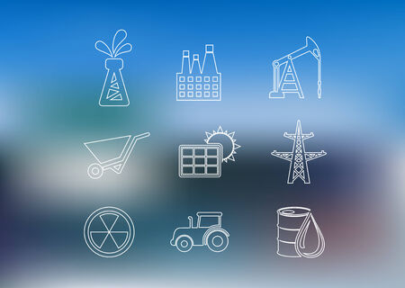 solar battery: Outline industrial icons set with Oil derrick, factory, oil pump, wheelbarrow, solar battery, high-voltage tower, nuclear sign, barrel, truck and tractor