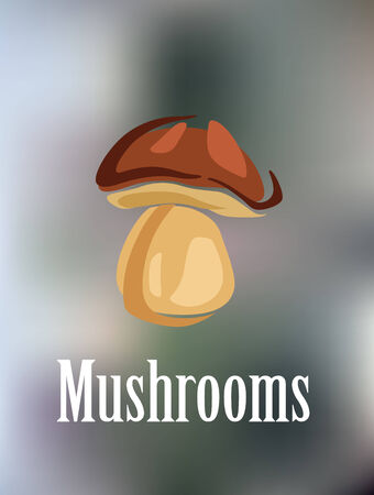 Forest colorful mushroom isolated on blur background. suitable for food, pizza and restaurant design Vector