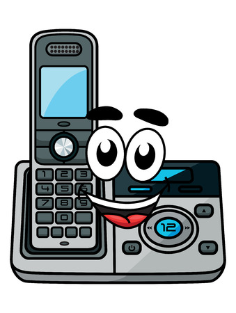 cordless phone: Cordless phone in cartoon style, suitable for communication and technology design