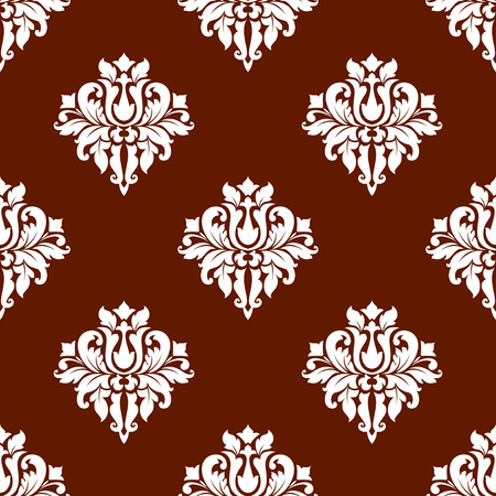flower decoration: White colored floral seamless pattern in damask style suitable for wallpaper, tiles and fabric design