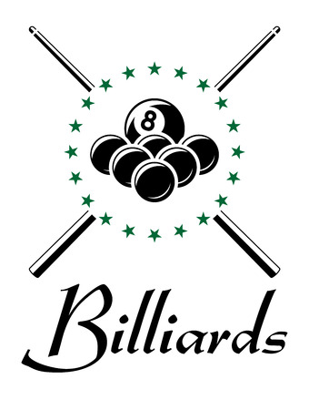 champions league: Billiards and snooker sports emblem with balls