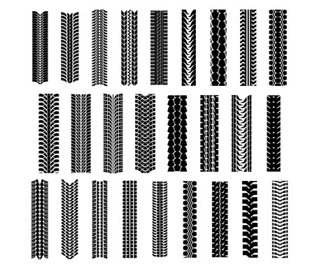 dirt: Tire shapes set isolated on white background, suitable for transportation and sport racing design